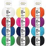 Mélange de couleurs 100 % coton - 600g (12 x 50g) - Laine certifiée Oeko-Tex Standard 100 pour le tricot & le crochet - Set de fil de coton avec 12 couleurs par fairwool