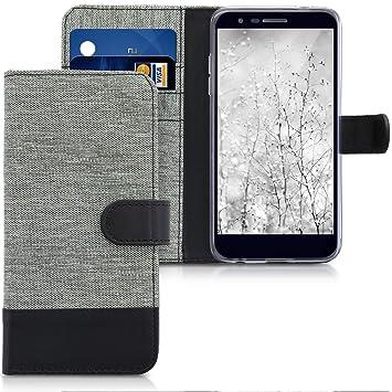 kwmobile Funda compatible con LG K11 / K11+ / K10 (2018) - Carcasa de tela y cuero sintético tarjetero gris / negro