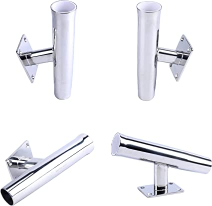 1X Stainless Stee lTournament Style Wall Mounted Rod Holder Transom Mounted 15°