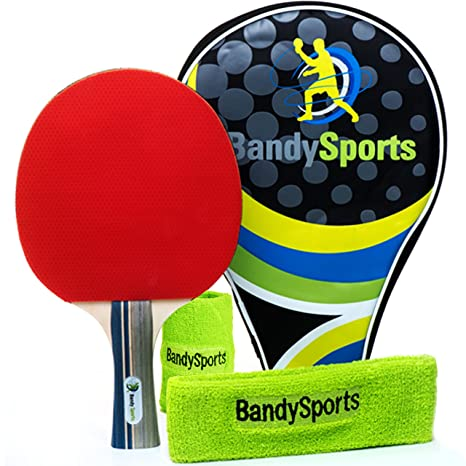 Amazon.com : Premium Ping Pong Paddle Racket with Sweat Head/Wrist ...