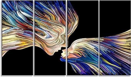 Designart Metaphorical Mind Painting-Sensual Canvas Artwork-48×28-4 Piece