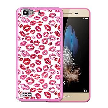 WoowCase Funda Huawei P8 Lite Smart, [Huawei P8 Lite Smart ] Funda Silicona Gel Flexible Labios Besos Amor, Carcasa Case TPU Silicona - Rosa