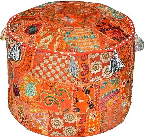NANDNANDINI – Beautiful Handmade Orange Christmas Decorative Bohemian Ottoman Patchwork Ottoman Indian Embroidered Indian Vintage Cotton Round Pouf Foot Stool, Vintage Ottoman Bohemian Decor