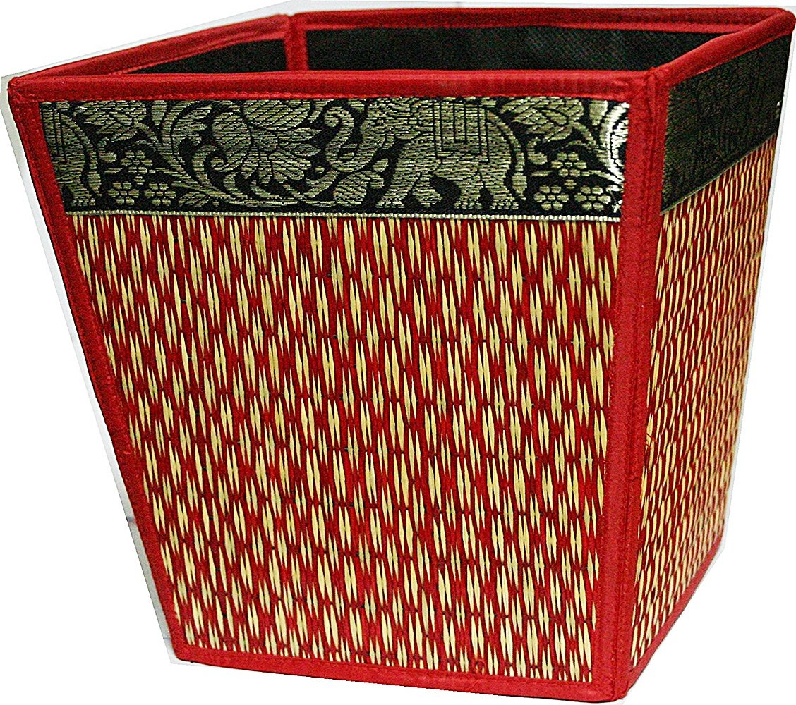 chantubtimplaza Waste Basket Thai Elephant Silk Reed Paper Bin Home Decor Brown Color by chantubtimplaza