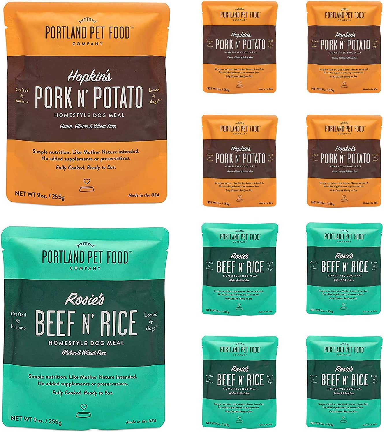 Portland Pet Food Company – Natural Wet Dog Food Pouches – Human-Grade, Gluten-Free Mixer or Dog Food Topper, Made in The USA Dog Food (4X Rosie's Beef/ 4X Hopkin's Pork)
