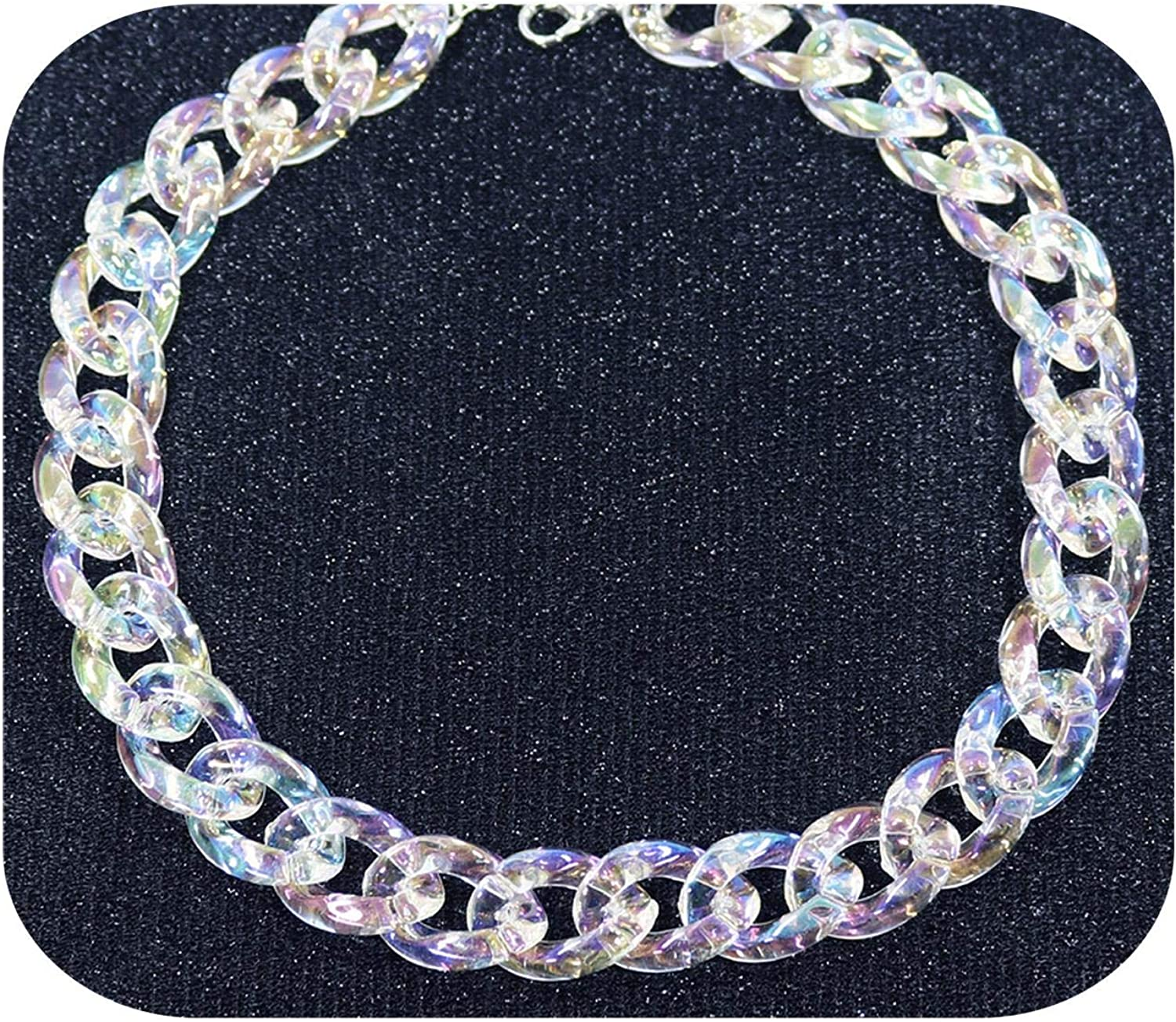 Stainless Steel Chain Clear Lavender Pendant Resin Necklace