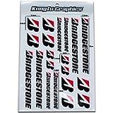 Kungfu Graphics Micro Sponsor Logo Racing Sticker Sheet Universal (7.2x 10.2 inch), White Black, MSS (22)