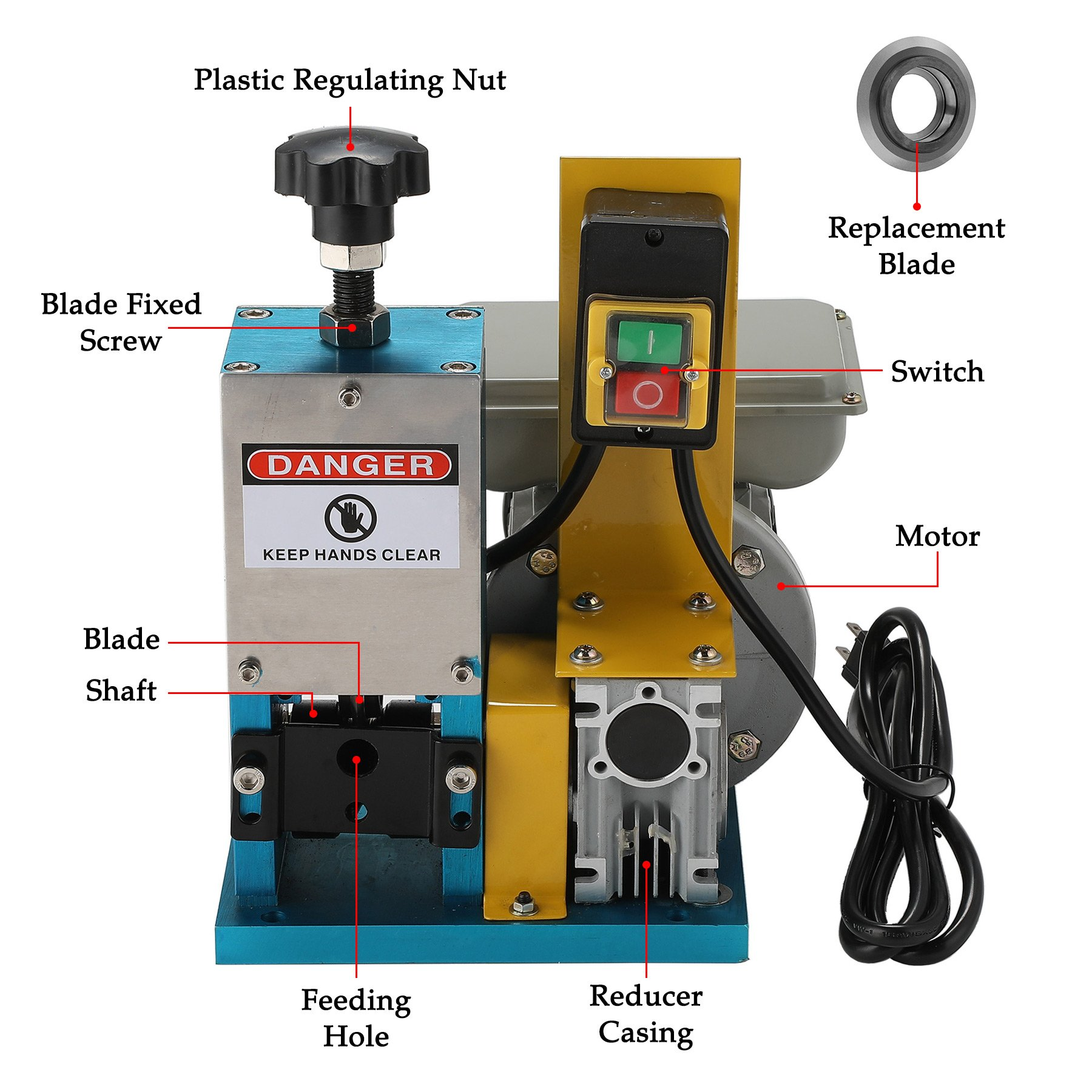 CO-Z Automatic Electric Wire Stripping Machine Portable Scrap Cable Stripper for Scrap Copper Recycling, including Extra Blade by CO-Z (Image #3)