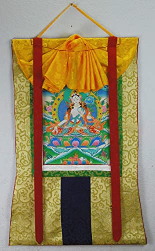 White Tara Thanka or Thangka Yellow Brocade 2 2021