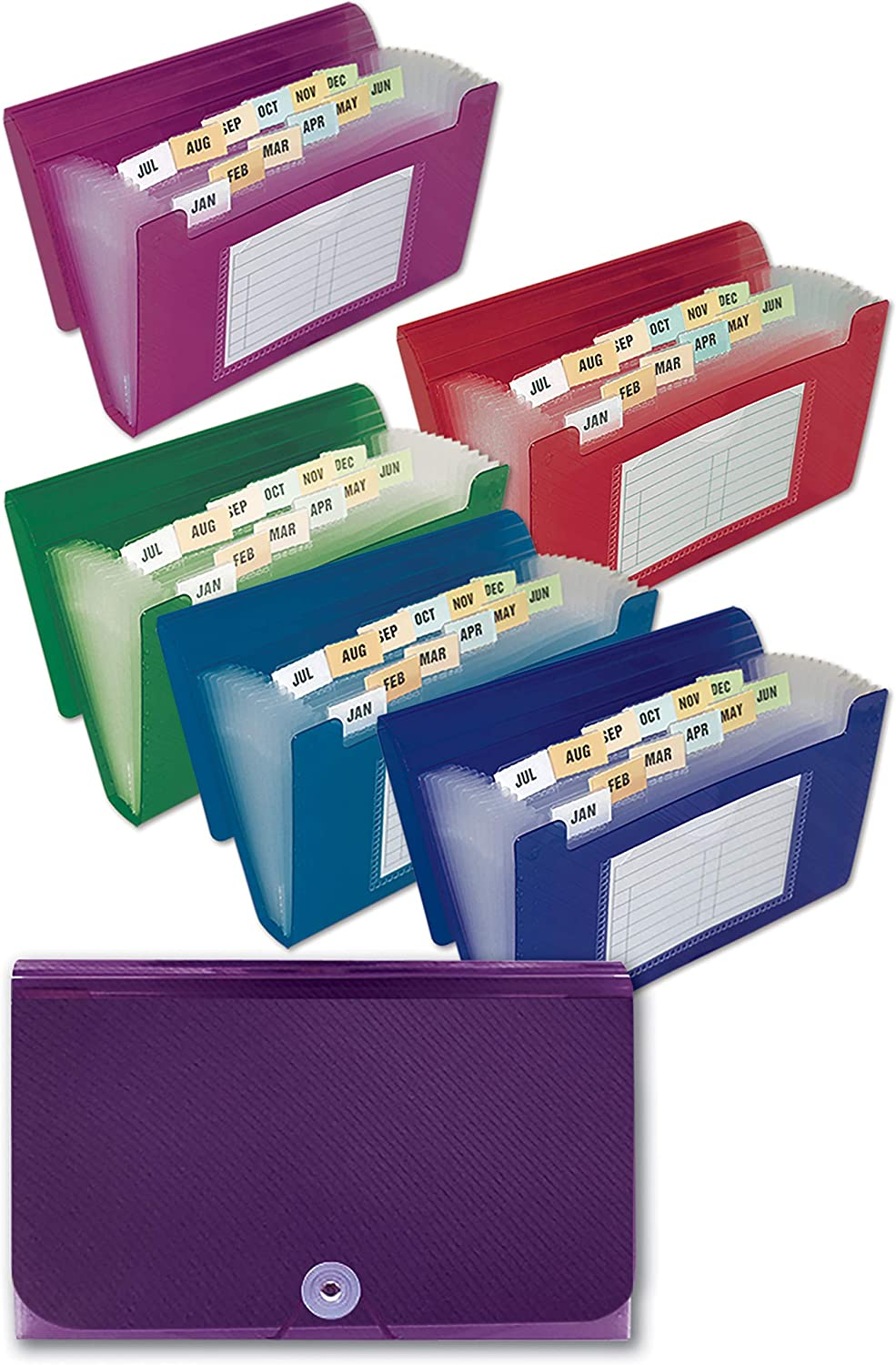13 Pocket Coupon File Organizer, 12 Pack, Expanding File, Strong Durable Poly Material, 7 x 4.5 Inches, Set of 12, Assorted Colors