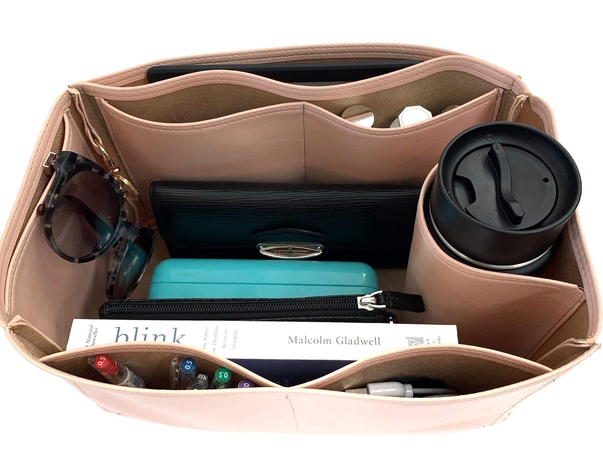Purse Organizer Insert for LV Neverfull Handbag - Fits inside Louis Vuitton Neverfull MM bag - Vegan Leather (MM, Blush Pink)