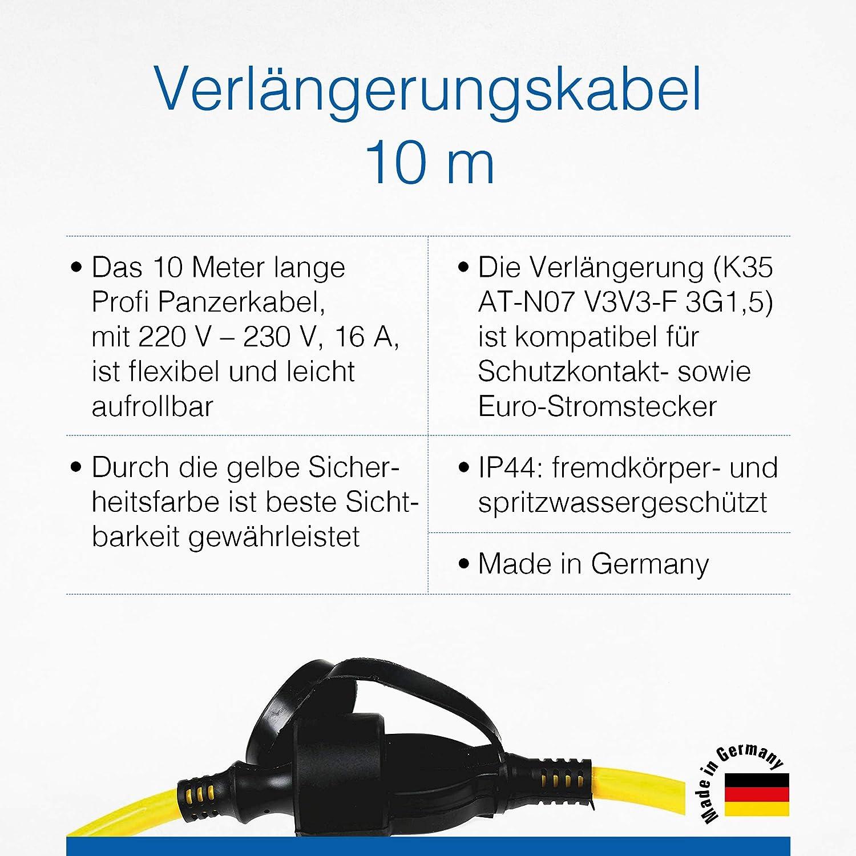 As Schwabe Verlängerungskabel 10 M 220 230 V 16 A Schuko Euro Stecker Outdoor Stromverlängerungskabel Strom Verlängerung Für Außenbereich Ip44 Made In Germany Gelb I 60352 Baumarkt