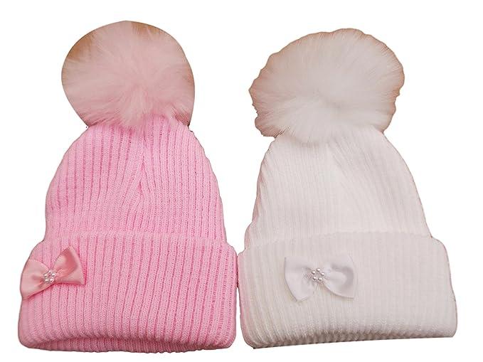 Hat Niñas Invierno Poco Arco Gorro de Punto con pompón de Piel Rosa Rosa 0-3  Meses  Amazon.es  Ropa y accesorios a4a42a60ad8
