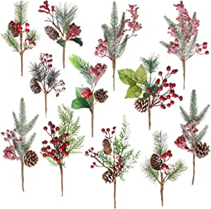 Crafare 12 Pack Artificial Christmas Red Berry Picks Assorted Holly Picks Stems Faux Pine Picks Spray with Pinecones Apples Holly Leaves for Floral Arrangement Wreath Winter Holiday Season Décor