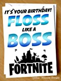 Funny Birthday Greetings Card Comical Happy Birthday Floss Like A Boss Fortnite Gaming Game Xbox PC Computer Playstation Teenager Banter Witty Adult Comedy Cheeky Play Blunt Banter Witty Alternative Hilarious Dad Mum Sister Brother Friend Husband Wife Girlfriend Boyfriend Best Friend