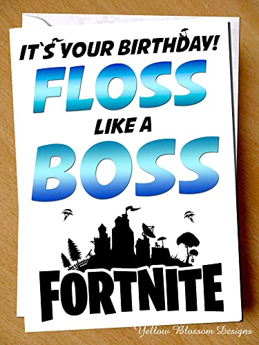 Funny Birthday Greetings Card Comical Happy Floss Like A Boss Fortnite Gaming Game Xbox PC