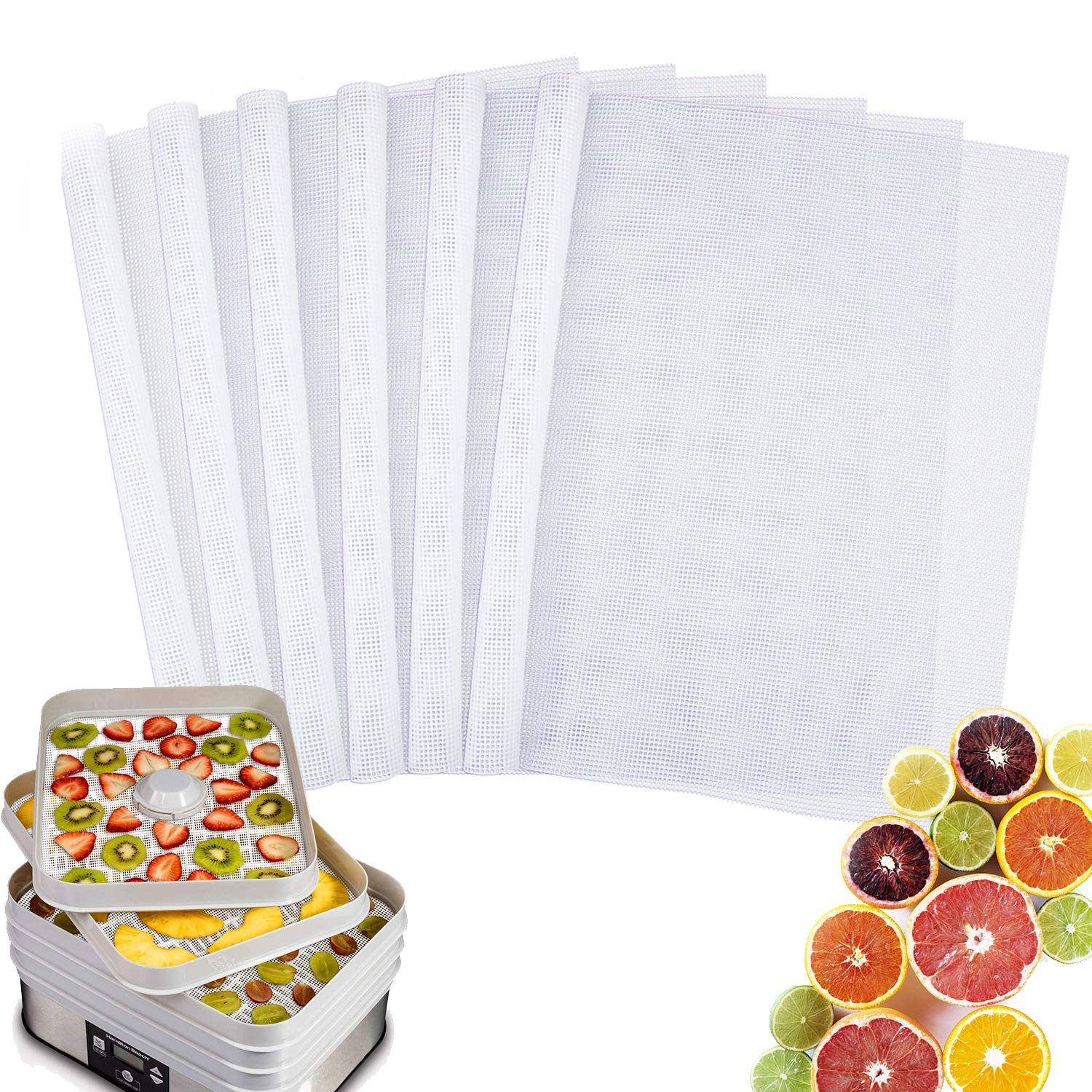 TABIGER Pack of 6 Reusable Non Stick Silicone Dehydrator Mesh Sheets 14'' x 14'' for Excalibur 2500 3500 2900 3900 Food Fruit Dryer Fits Excalibur 5 and 9 Trays by Tabiger