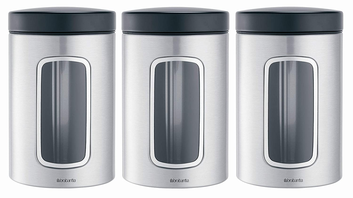 Brabantia Window Canister - White - 1.4 litre - Pack of 3 151224