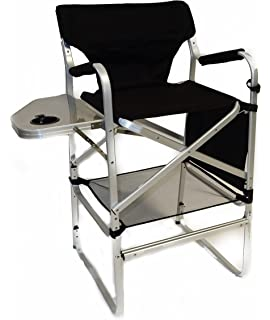 Superior World Outdoor Products Lightweight PROFESSIONAL Tall Directors Chair With  Side Table, Footrest, Cup Holder