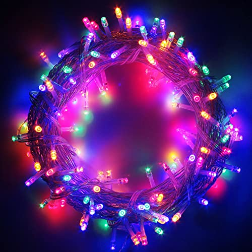 100-1000 LED String Fairy Lights on Clear Cable with 8 Light Effects, Low Voltage Transformer Included, Ideal for Christmas, Xmas, Party,Wedding 1000 LEDs, Multicolor