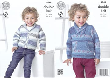 57dcc5020 King Cole Splash DK Double Knitting Pattern Childrens Boys Cardigan    Sweater with Pocket (4248