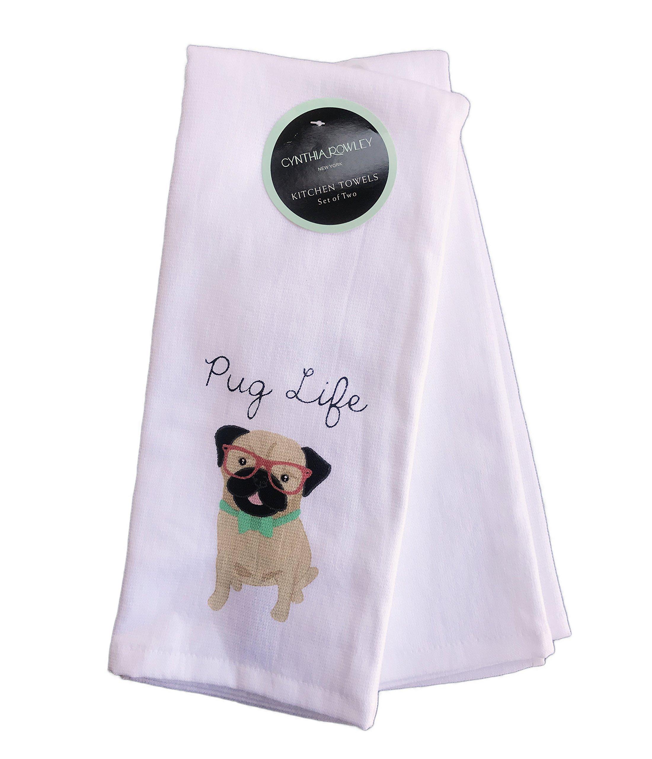 Cynthia Rowley set of 2 Kitchen Towels Cotton Pug Dog ''It's a Pug Life''