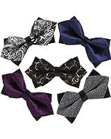 5 PC Mens Assorted Pattern Pre-Tied Adjustable Neck Tie Bowties