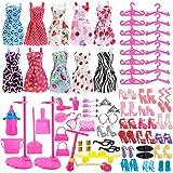 Asiv 110 Piezas Ropa de Moda, Zapatos y Accesorios para Las muñecas Barbie, Incluyendo 10 los Vestidos, 14 Zapatos, 16 suspensión, 2 Soporte de la muñeca, 68 los Accesorios