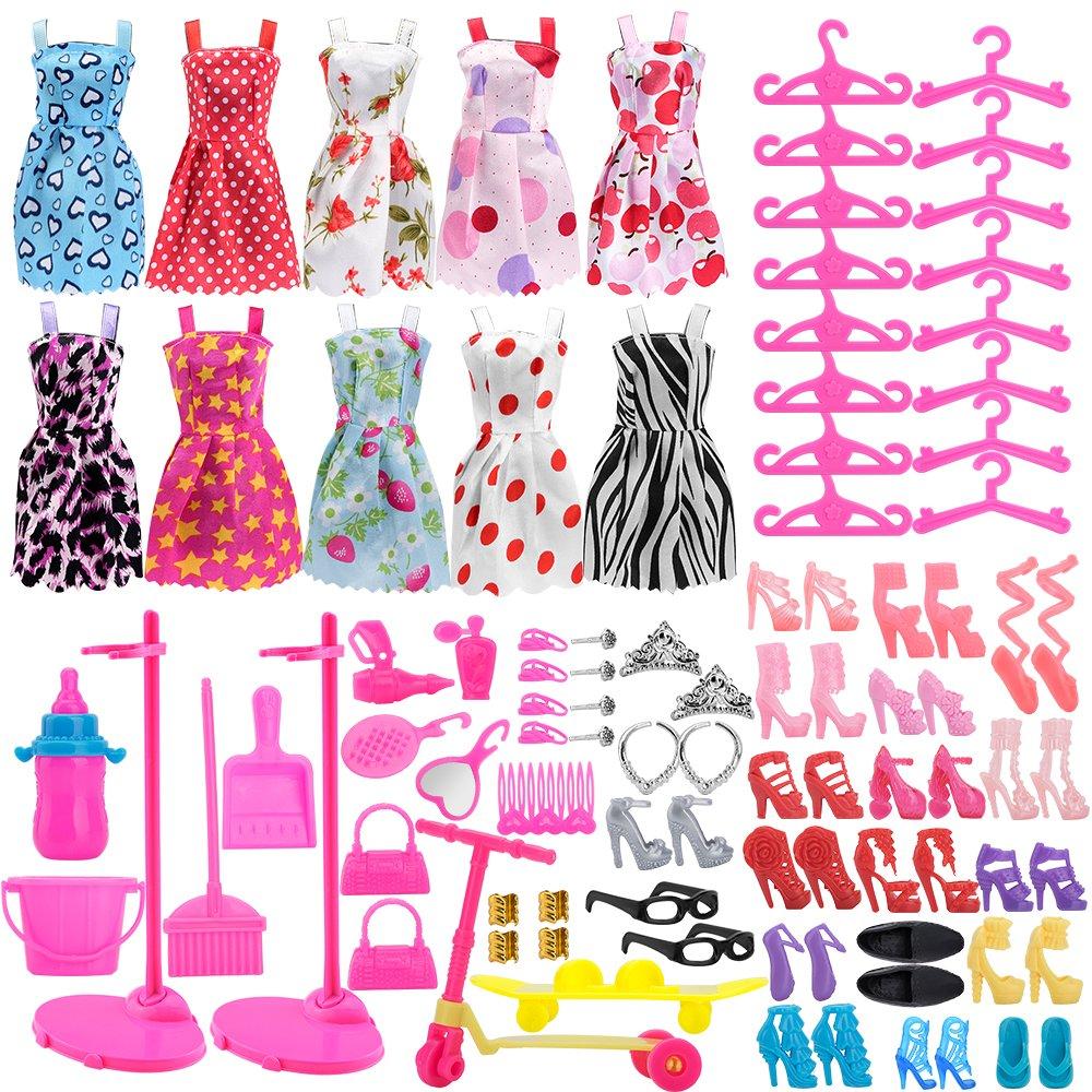ASIV 110 piezas ropa de moda, zapatos y accesorios para las muñecas ...