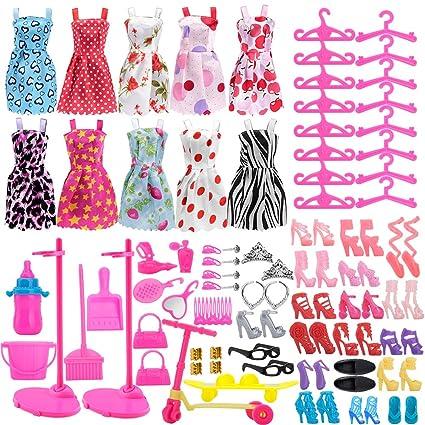 Asiv 110 Piezas Ropa De Moda Zapatos Y Accesorios Para Las Muñecas Doll Incluyendo 10 Los Vestidos 14 Zapatos 16 Suspensión 2 Soporte De La