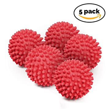 5 x No Derriten - Bolas de Secadora Reutilizables - Bolas de Secado para Lavandería. Suavizante de Ropa - Verde/Rojo (Rojo): Amazon.es: Hogar