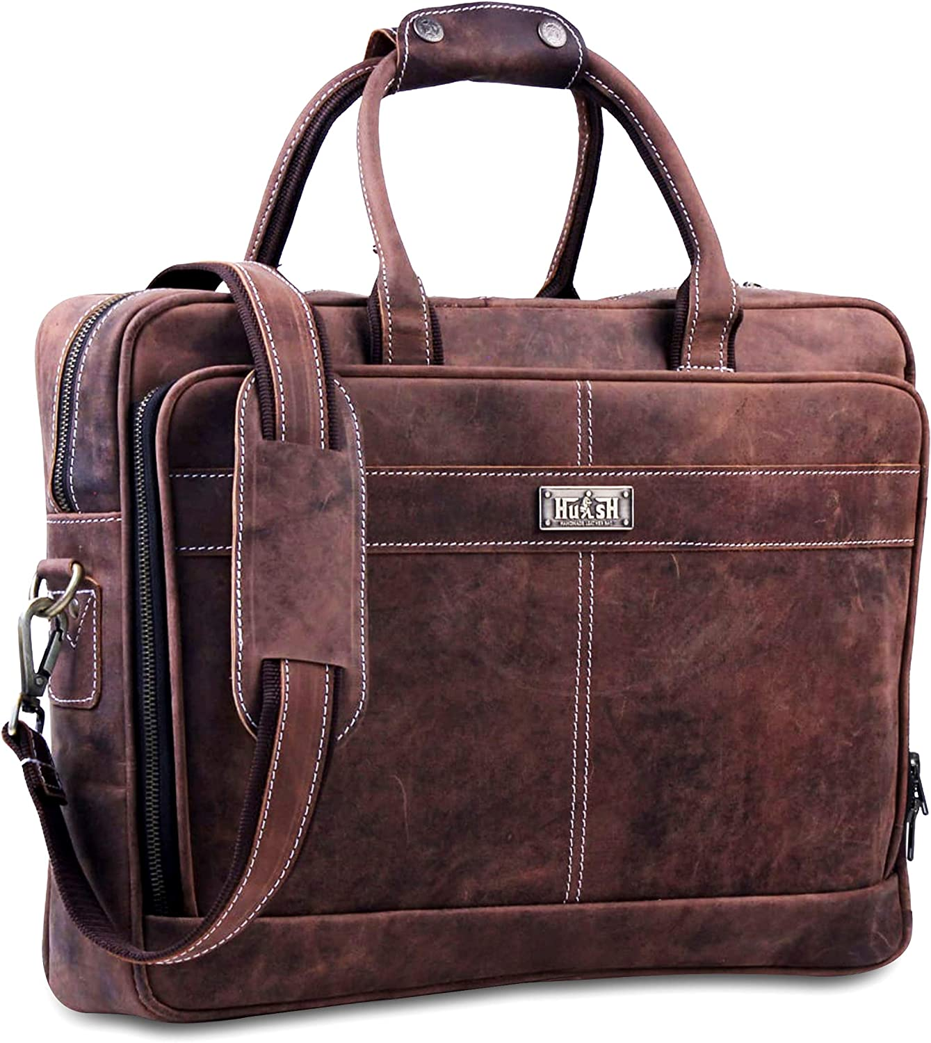 18 Inch Leather Laptop Bag For Men Leather Messenger Bag For Men – Soft And Supple Genuine Leather Briefcases For Men W/Padded Laptop Case A Must Have Leather Computer Bag For Men