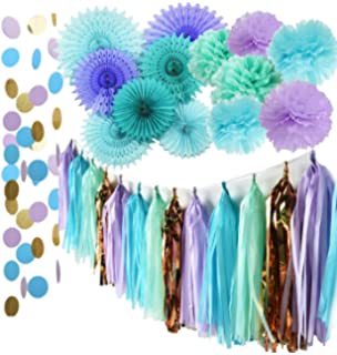 Mermaid Party Supplies Tissue Pom Poms Teal Paper Fan Flower/Under The Sea Decorations  Baby