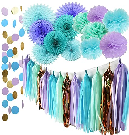 mermaid party supplies tissue pom poms teal paper fan flowerunder the sea decorations baby
