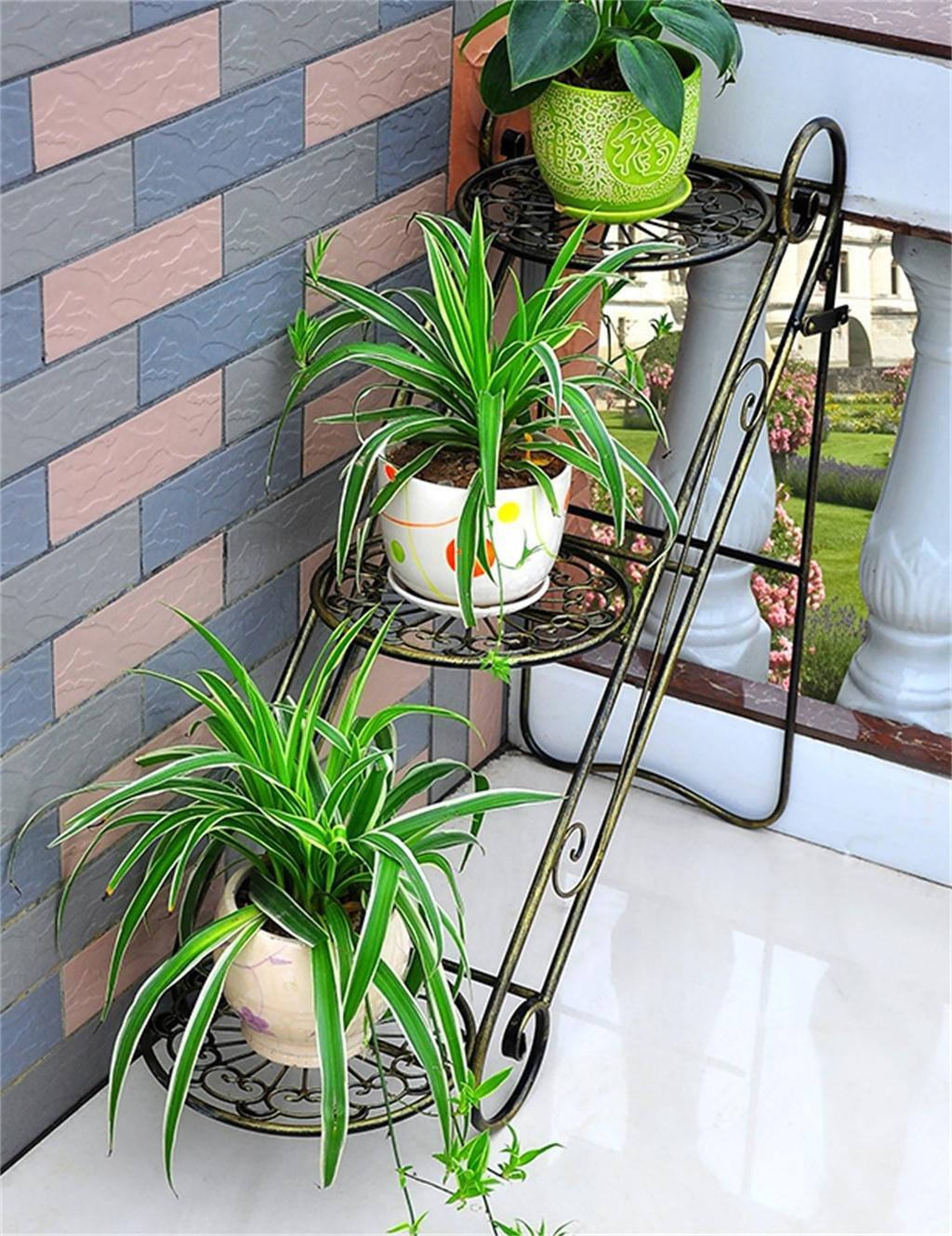 Eisen Blumentopf Rack Wohnzimmer Balkon Blumentopf Regal Multi - Layer Eisen Blumenregale ( farbe : Bronze )