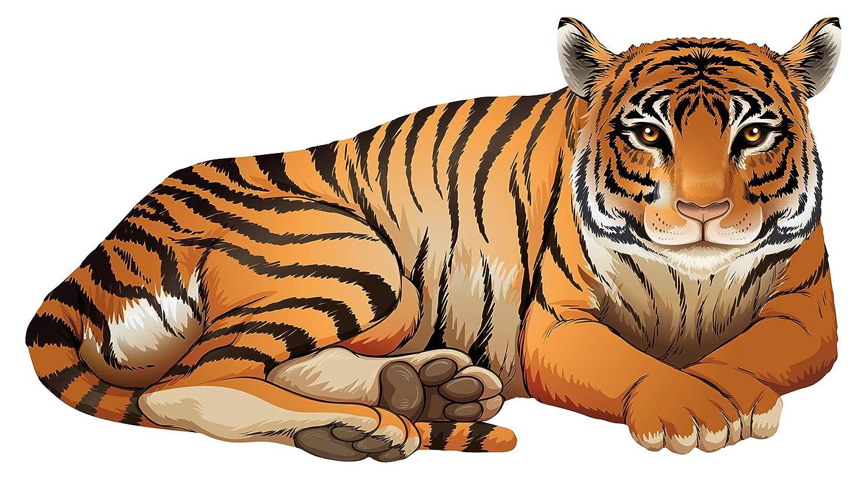Wandtattoo autocollant mural pour chambre d'enfant Tigre Motif animal pour coll