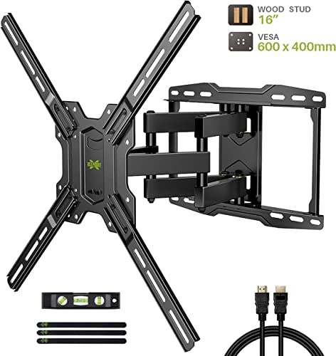 TV Mount Bracket Max VESA 600x400mm for Most 42-75 inch Flat Screen LED 4K TVs, USX MOUNT Full Motion TV Wall Mount Dual Swivel Articulating Tilt 6 Arms Up to 16 Wood Stud, Weight Capacity 100lbs
