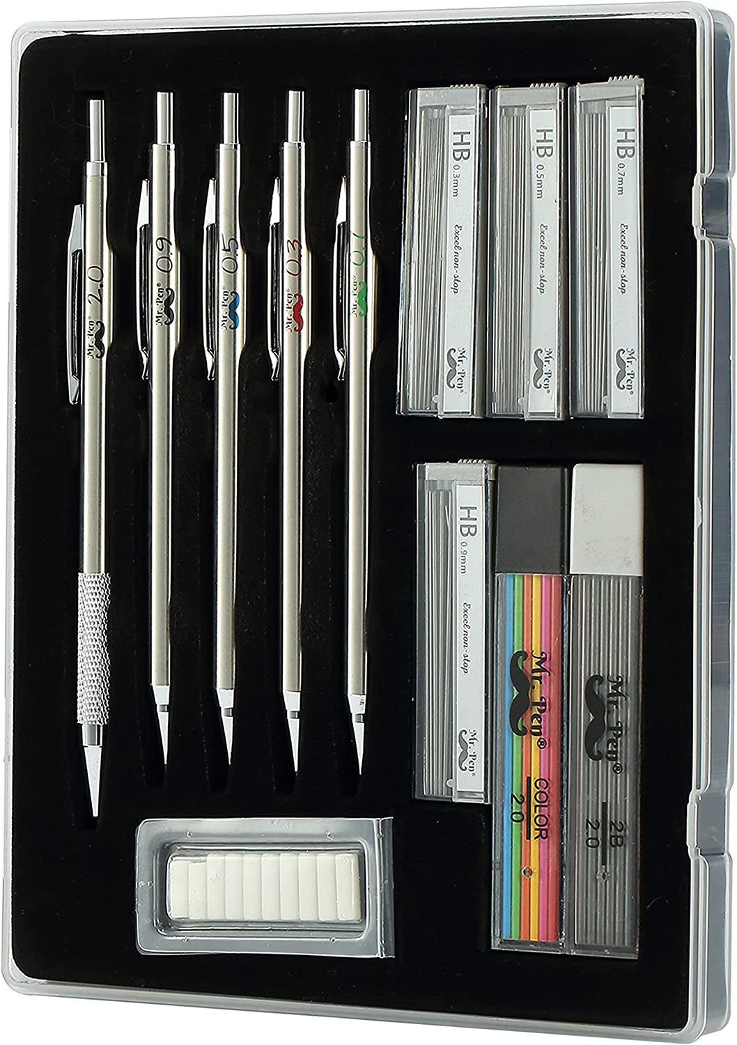 Mr. Pen- Metal Mechanical Pencil Set with Lead and Eraser Refills, 5 Sizes, 0.3, 0.5, 0.7, 0.9, 2mm, Drafting, Sketching, Architecture, Drawing Mechanical Pencils, Metal Mechanical Pencils : Office Products