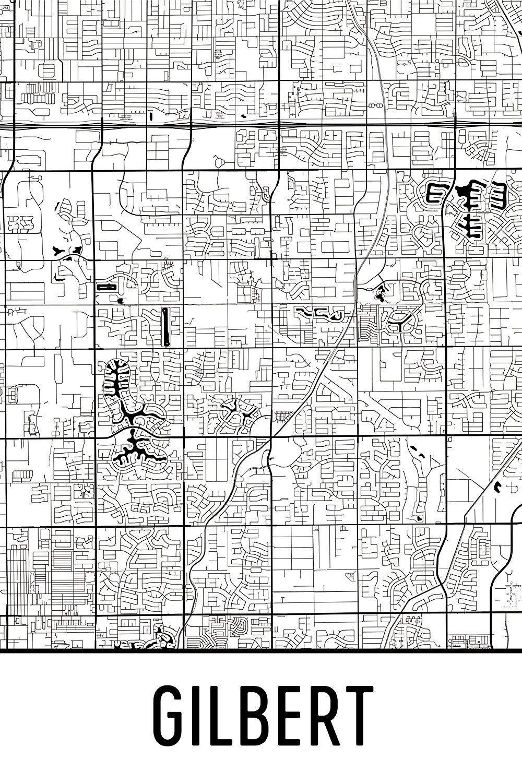 Map Of Arizona Gilbert.Amazon Com Gilbert Print Gilbert Art Gilbert Map Gilbert Az