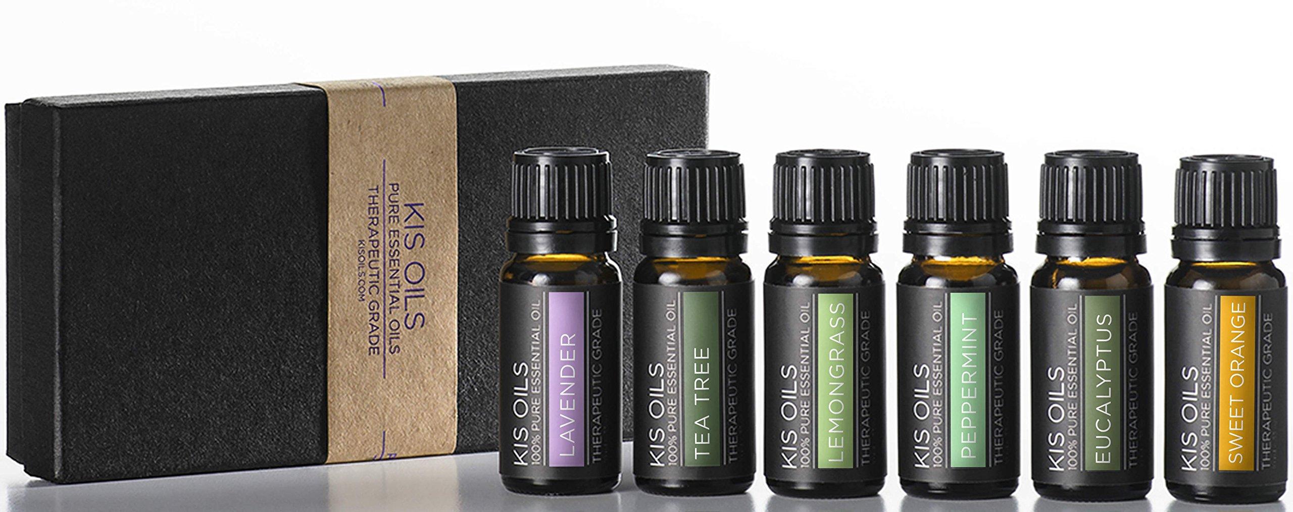 Aromatherapy Top 6 100% Pure Therapeutic Grade Basic Sampler Essential Oil Gift Basic sampler essential oil gift set 6/10ml (lavender, sweet orange, peppermint, lemongrass, tea tree, eucalyptus) by Kis Oil'S (Image #2)