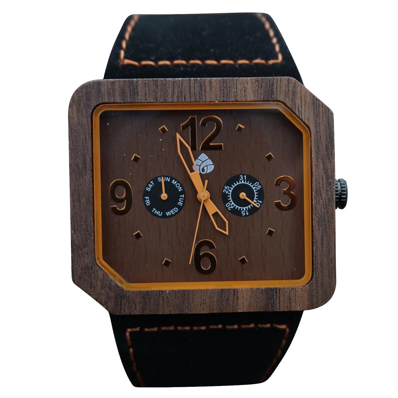 leafwood - der Terra juglan orange - natÜrliches Walnuss recyceltem Herren Holz Uhr mit italienischem Leder Gurt