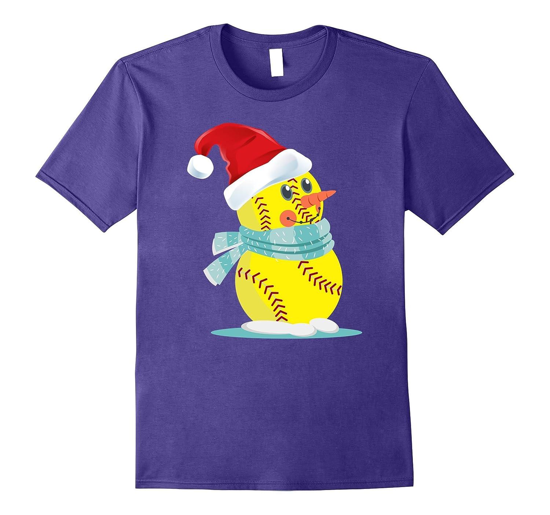 Funny Sotfball Snowman Holiday Spirit Christmas T-Shirt-ANZ
