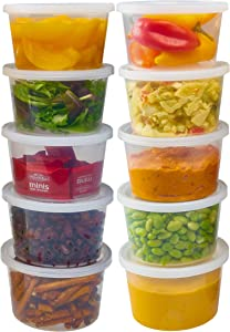 DuraHome - Deli Containers with Lids Leakproof - 40 Pack BPA-Free Plastic Microwaveable Clear Food Storage Container Premium Heavy-Duty Quality, Freezer & Dishwasher Safe (16 oz.)