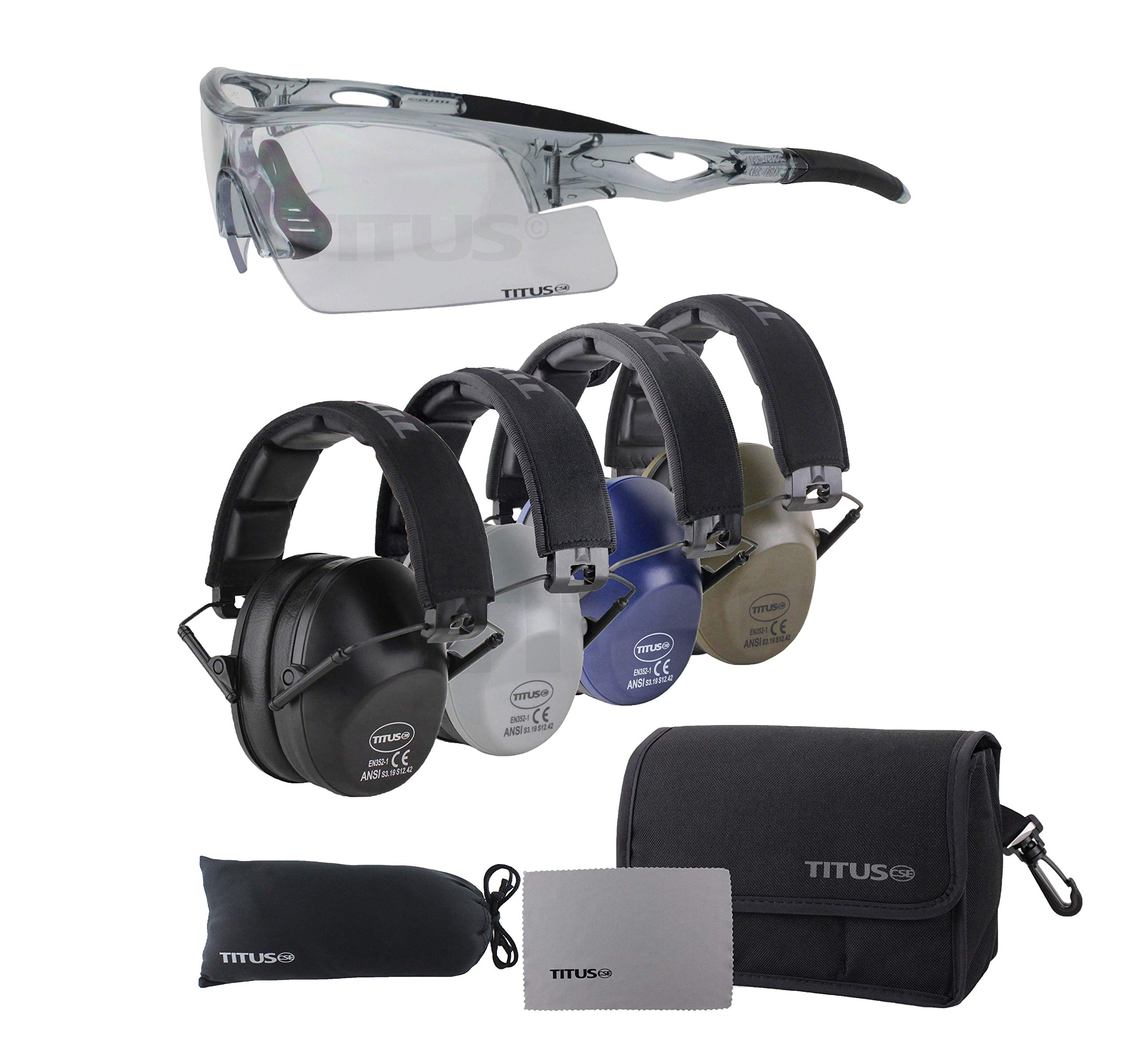 TITUS Slim-line Earmuffs and Safety Glasses Combo Pack (Grey, Grey Frame w/Clear Lens)