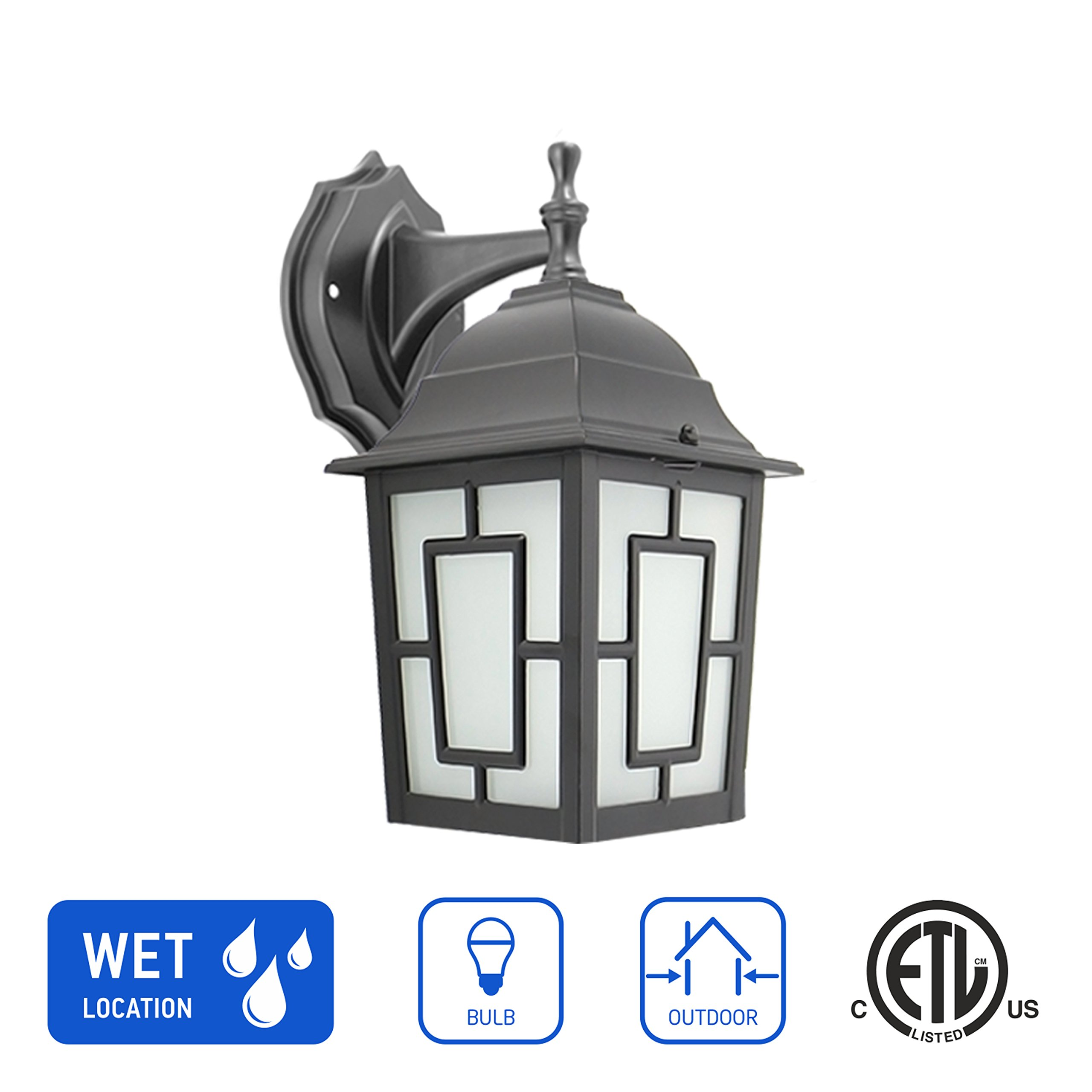 in Home 1-Light Outdoor Wall Mount Lantern Downward Fixture L05 Series Traditional Design Black Finish, Frosted Glass Shade, ETL Listed
