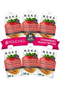 NOKA Nut Butter Fruit Smoothie Pouches (Strawberry Peanut Butter) 6 Pack | Healthy Snack Squeeze Packs | Meal Replacement | 100% Organic, Non GMO, Gluten Free, Vegan, 8g Plant Protein | 4.22oz Each
