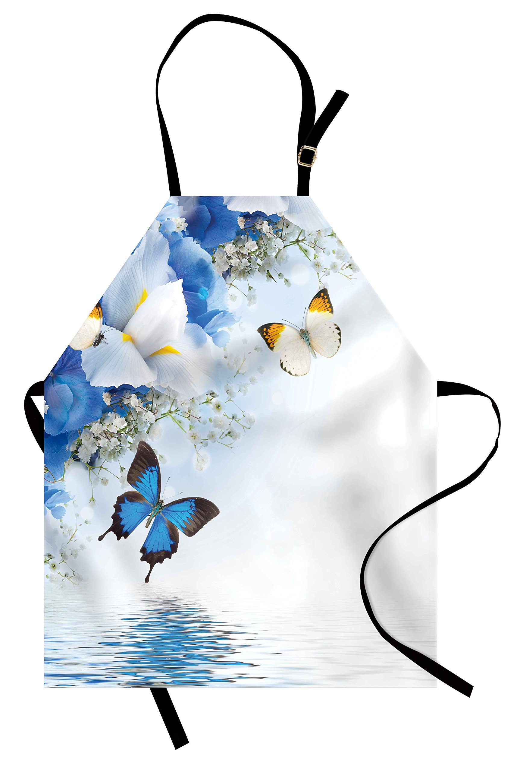 Ambesonne Floral Apron, Blue and White Wild Flowers with Monarch Butterflies Lily Therapy Zen Spa Art Prints, Unisex Kitchen Bib Apron with Adjustable Neck for Cooking Baking Gardening, Pale Blue