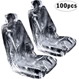 Boao 100 Pieces Car Disposable Universal Plastic Seat Covers Universal Transparent Seat Protective Covers for Vehicles…