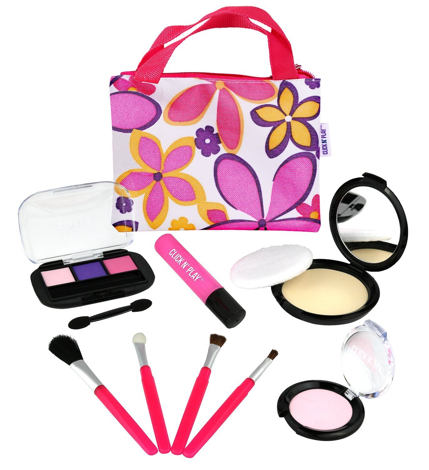 Click N' Play Pretend Play Cosmetic and Makeup Set with Floral Tote Bag by Click N' Play