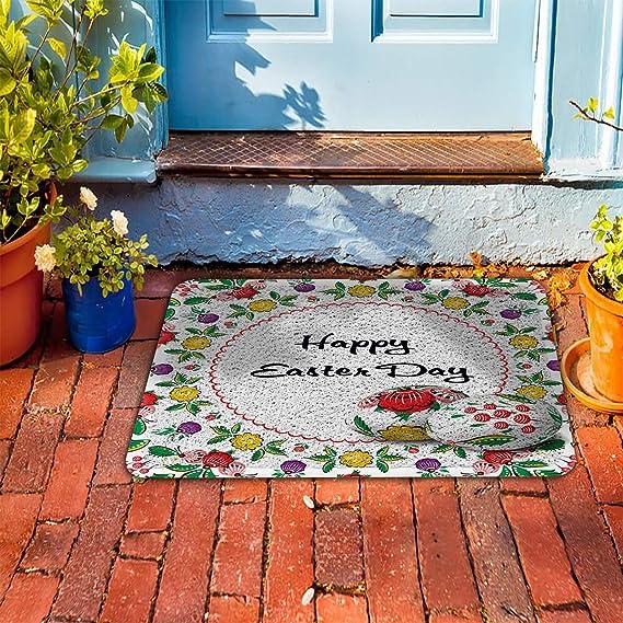 Amazon.com : CHARMHOME Indoor Outdoor Door Mat - Happy Easter Day Egg Floral Decor Non-Slip Rubber Backing Doormat Runner Rug Traps Dirt and Liquid ...